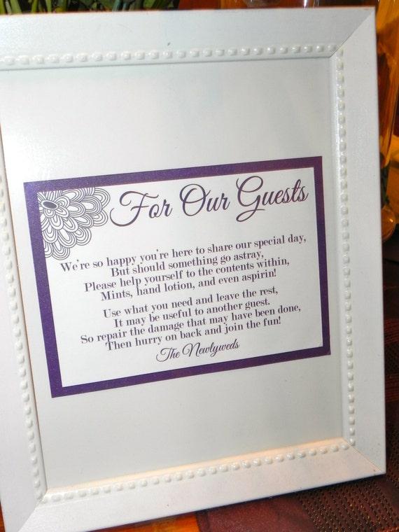 Bathroom Basket Signs For Weddings wedding sign/reception bathroom basket sign 5x7
