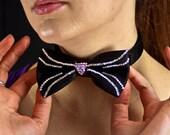 The Black Cat's Meow Bowtie: Black Bowtie with Pink And Crystal Swarovski Rhinestones