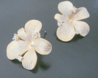 Wholesale Gold Sterling Crystal Flower Earring Post Findings, setting, connector, pendants, 2 pc,  P58692