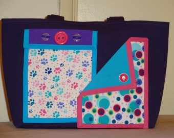 Purple Denim Tote Bag (Medium) with Dog Cat Paw Print fabrics LOTS of pockets Turquoise Pink Polka Dots