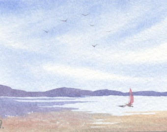 Original watercolor ACEO painting - Back at the shore