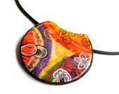 Vibrant statement necklace - multicolored polymer clay pendant - orange yellow purple red  with flowers - OOAK - Chifonie