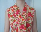 vintage womens day dress 60s 70s floral sleeveless