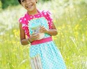 Polka Dot Apron, Girls Retro Robin Polka Dots & Rainbow Stripes,Toddler Apron, Teen Apron, ALL Sizes