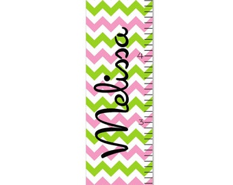 Growth Chart Children Multi Color Chevron Canvas Growth Chart Personalized OHSC