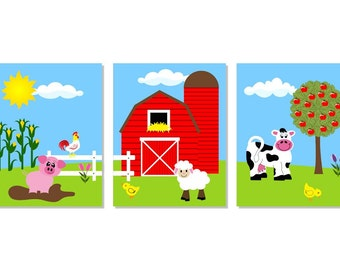 Farm Series Print Farm Nursery Art, Childrens Art, Kid Art, Farm Nursery Decor, Farm Animal Wall Art