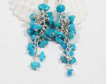 Turquoise Earrings Cascade Earrings Silver Earrings Birthstone Jewelry