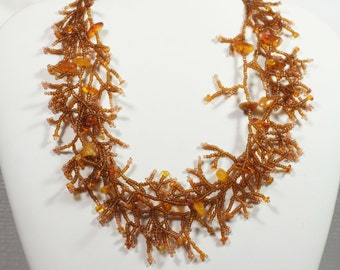 Amber Beadwork Necklace Beadweaving Choker Necklace Gemstone Necklace Free Shipping