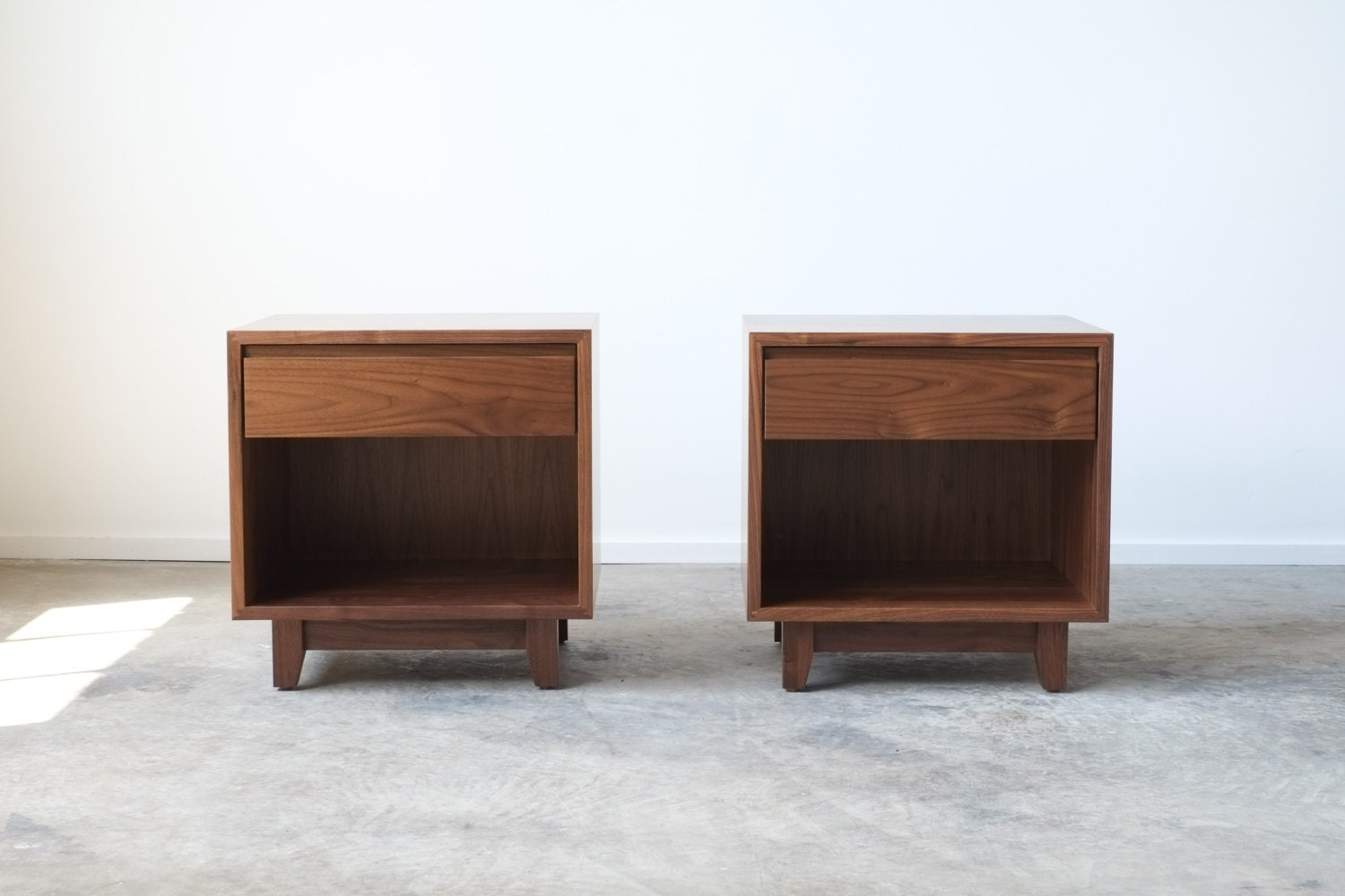 Solid Walnut Nightstand / Bedside Table Surround By Hedgehouse