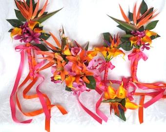 Tropical wedding bouquet matching boutonnieres orange fuchsia pink tropical bouquets