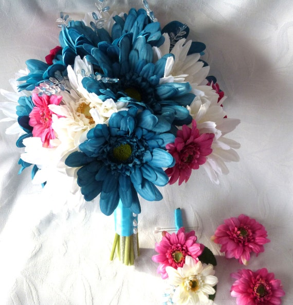 Silk flower bridal bouquet boutonnieres fuchsia turquoise creme gerbera daisies wedding bouquets package