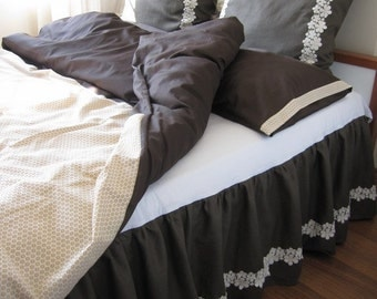Brown beige cream Bedding Queen size Duvet cover shabby chic  pillow cases 3 pcs