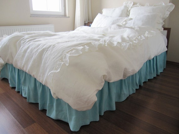 Ivory Shabby Chic Bedding: King Or Queen Duvet Cover White Or Ivory Linen Romantic