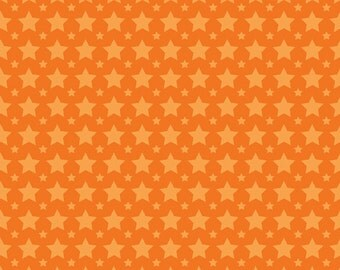 """LAST PIECE 1 Yard 31"""" of One for the Boys Orange Stars by Zoe Pearn for Riley Blake"""