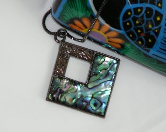 Paua shell pendant and gun metal finished chain - Free shipping to Canada & USA