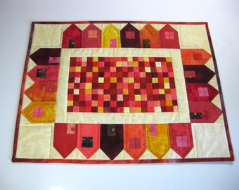 Quilted Table Topper, Patchwork Cottages,  House Wall Hanging, Art Quilt