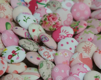 10 Fabric Covered Buttons - Pink - 2cm