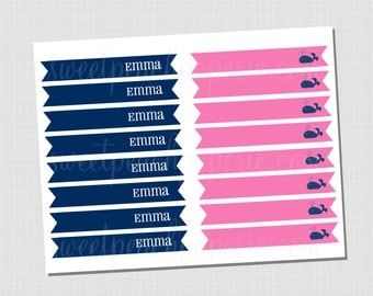 Preppy Whale Collection: Printable Personalized Straw Flags