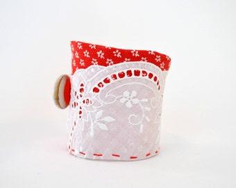 floral red wrist cuff - organic shaped red cotton bracelet - white flowers motif wrist cuff - white cotton trim mori girl bracelet