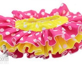 Polka Dot All Around Ruffle Diaper Cover Bloomer Skirt Panty - Hot Pink and Yellow