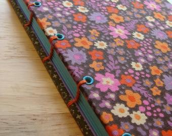 Small journal/ Coptic stitch retro flowers journal