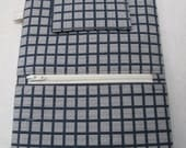 iPad Mini case / cover / sleeve with zippered storage pocket - Cream squares on navy design