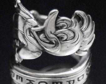 Spoon Ring, Vintage Woody Woodpecker 1964 Novelty Spoon Ring  size 7, Silverware Jewelry