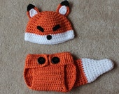 Newborn Baby Fox Hat and Diaper Cover Set, Photography Prop