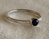 Cabochon Gemstone Hammered Band Ring. Eco Friendly. Ring Band.  Classic.