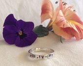 4mm Sterling Silver Personalized Ring Can Be Stamped on Both the Inside/Outside.HEBREW & GREEK Lettering Available. Recycled.