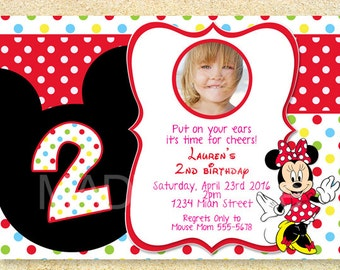 Minnie Mouse Birthday Invitation, Photo card, Birth Announcement, Baby Shower Invitation.