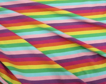 "Electric  Fission Rainbow apx. 3/8"" Cotton Lycra Stripe Knit FAbric"
