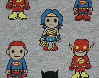 Asian Super Heroes on Gray  Cotton Lycra Knit FAbric