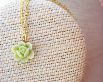 Tiny Light Green Flower Necklace
