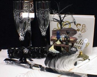 Corpse Bride Wedding Cake topper LOT Glasses knife server guest book Garter Gift set TREE