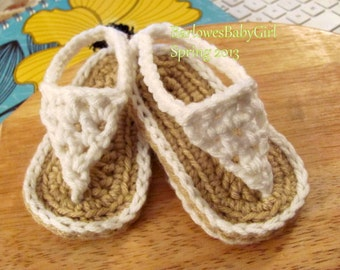 Buggs - Crochet White Baby Thong Sandals - Pick Your Color