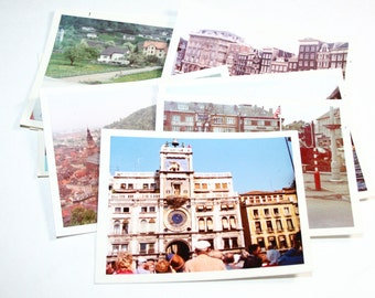8 Vintage 1973 European Vacation Photographs - - Mixed Media, Altered Art, Collage, Assemblage Supplies