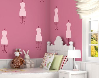 Painted Wall Stencil - Dress Form Craft Stencils for Funky Vintage Painted Wall Mural