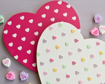 Small Furniture Polka Heart Stencil For Furniture and Craft Stencil Projects