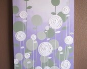 Lavender and Green Textured Painting, Abstract Flowers, Large Acrylic Painting on Canvas