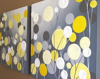 Wall Art, Textured Yellow and Grey Abstract Flower Garden, two 20x20 Acrylic Paintings on Canvas, MADE TO ORDER