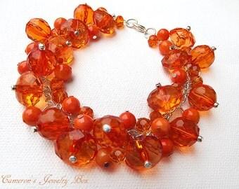 Orange Beaded Bracelet, Bridesmaids Jewelry, Chunky Cluster Bracelet, Orange Wedding Jewelry, Fall Wedding