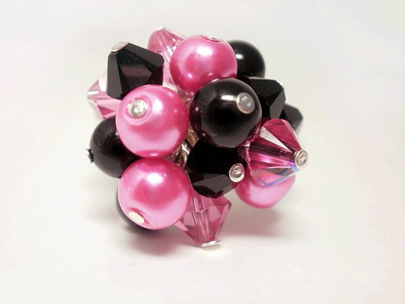 Swarovski Crystal Ring, Pink and Black Cluster Ring, Pearl Ring, Silver Wire Wrap Ring, Beaded Cocktail Ring