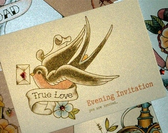 Sailor Jerry Style Swallow and Love Letter Vintage Tattoo Evening Wedding Invitations