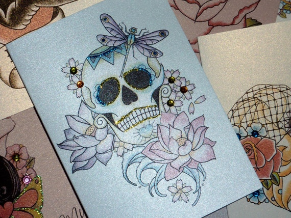 Lotus Flower Tattoo With Dragonfly: Sugar Skull Lotus Flower And Dragonfly Day By