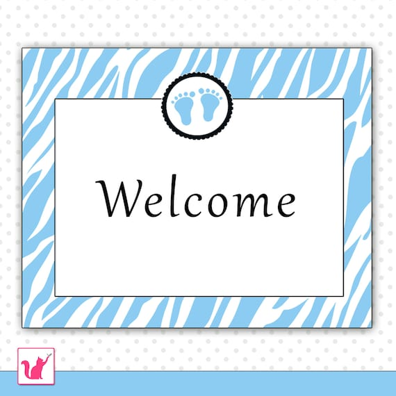 shower welcome sign blue zebra baby feet boy printable party
