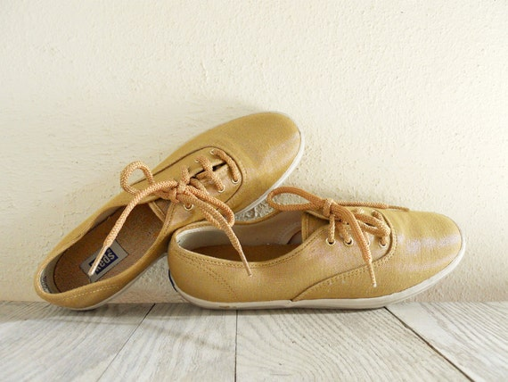 Vintage Gold Metallic Keds Tennis Shoes size 7.5