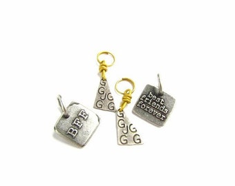 Mixed Industrial Chic Pendants / Charms, Best Friends