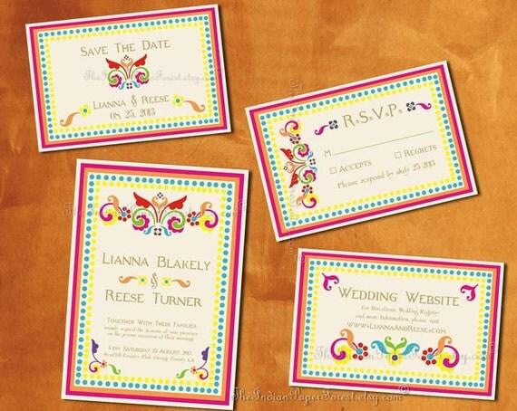 Boho Chic RUSTIC RANGOLI Indian Wedding Save The Date Card Printable / Print Order Asian Thai Persian Arab Turkish Pakistani Nepali Hindu