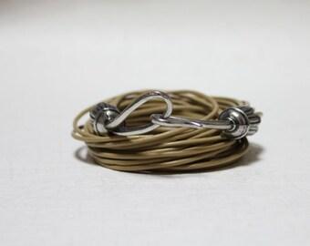 Vintage Hook Ornament Multi Strand Leather Bracelet(Khaki Beige)